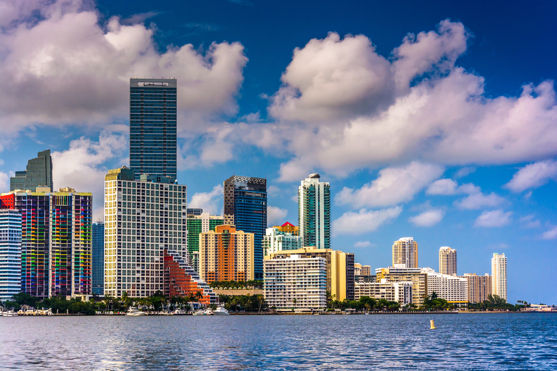 View of the Miami Skyline from Virginia Key, Miami, Florida.